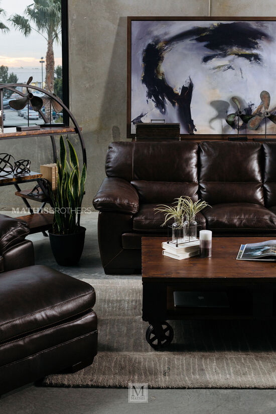 """Traditional 31"""" Leather Ottoman in Brown"""