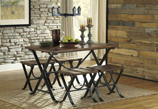 "Casual 48"" Five-Piece X-Base Dining Table Set in Medium Brown"
