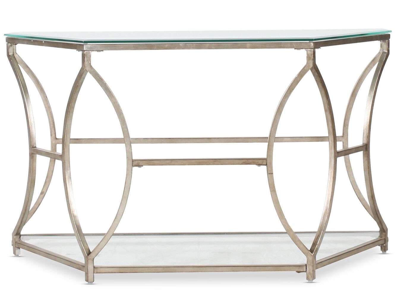 Curved base traditional sofa table in silver mathis brothers curved base traditional sofa table in antique gold geotapseo Gallery
