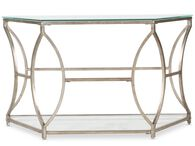 Curved Base Traditional Sofa Table in Antique Gold