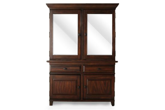 Traditional Rectangular China Cabinet in Dark Brown