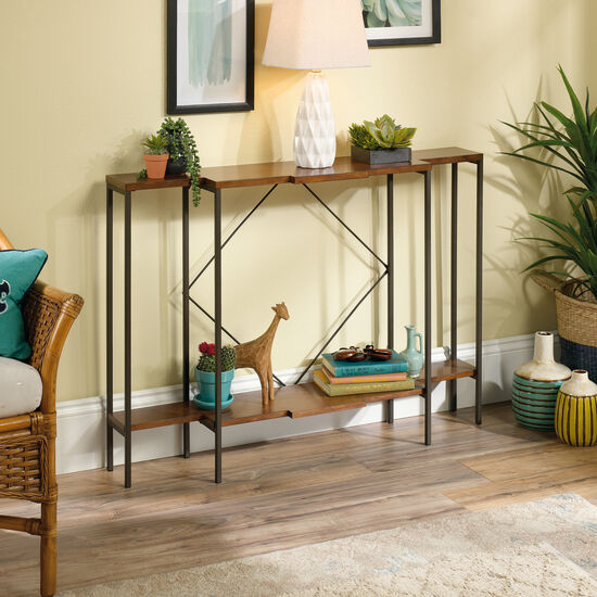 Square-Braced Contemporary Console Table in Warm Cherry