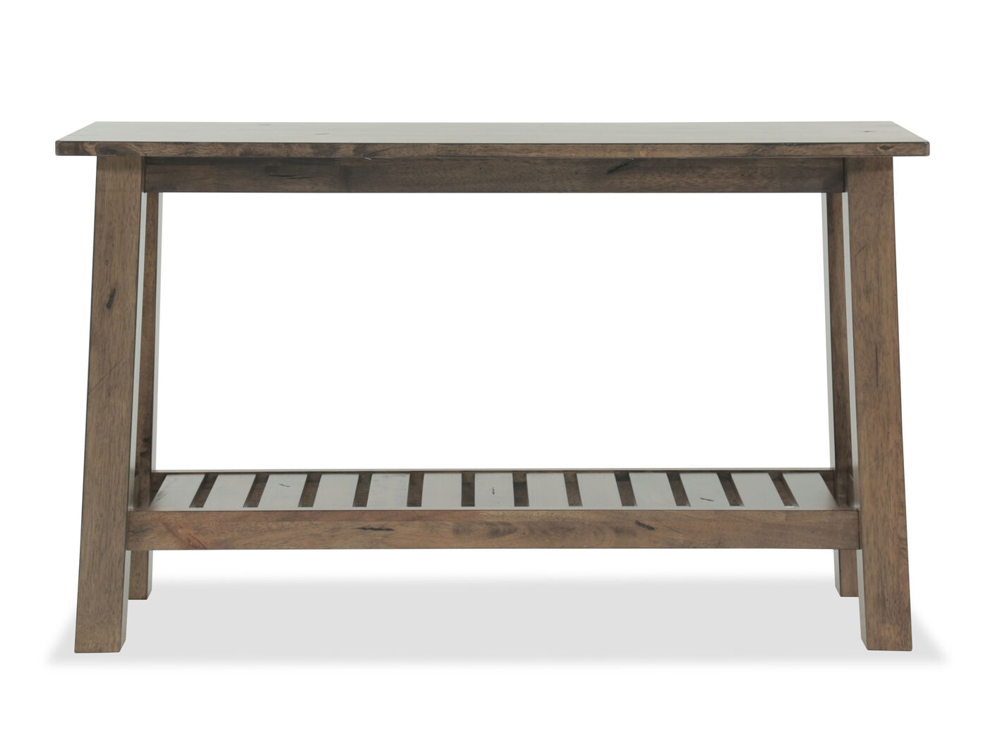 Slatted Shelf Transitional Sofa Table In Caramel Mathis Brothers  ~ Transitional Sofa Tables