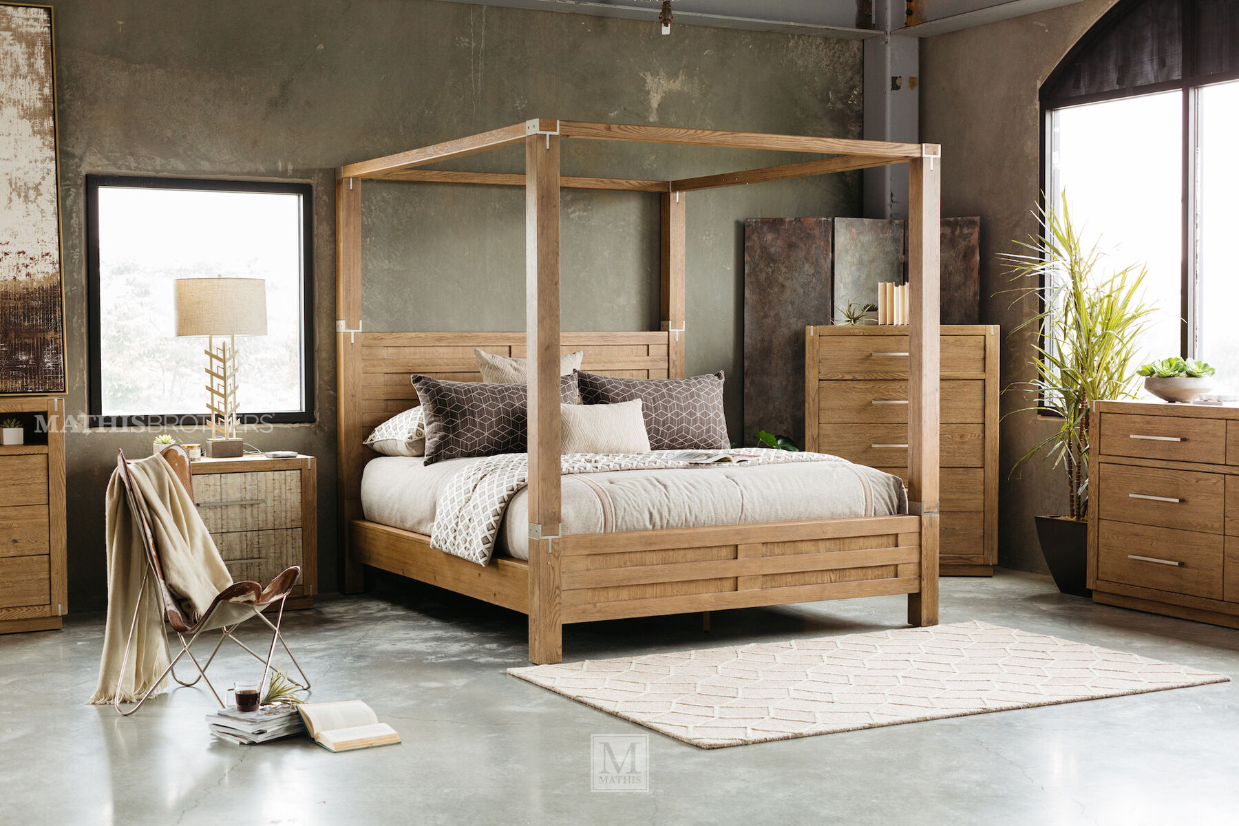 88u0026quot; Modern Interchangeable Panel to Canopy Bed in Rustic Oak & 88