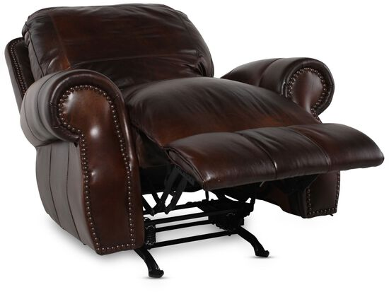 "Nailhead-Accented 44"" Leather Rocker Recliner in Brown"
