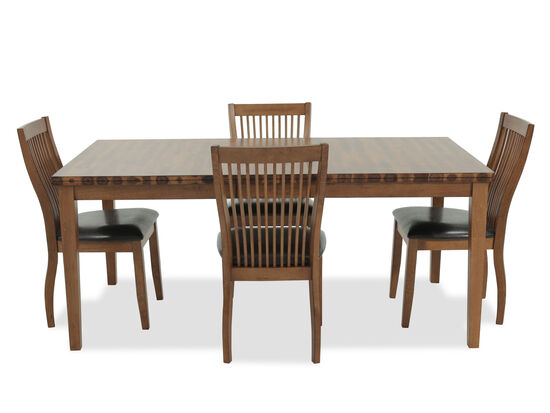 Five-Piece Contemporary 60'' to 72'' Dining Set in Medium Brown
