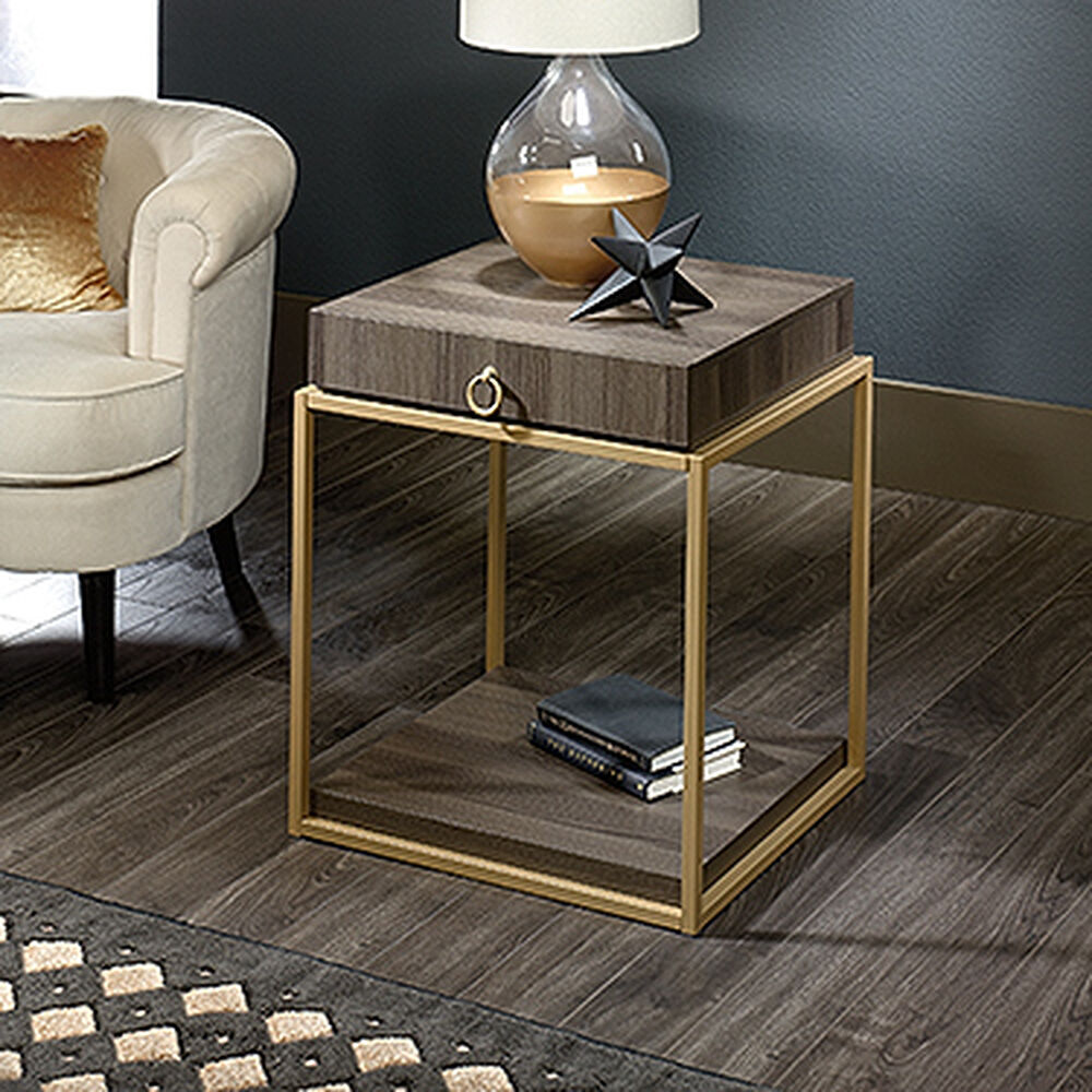 Contemporary storage side table in diamond ash mathis brothers furniture - Contemporary side tables with storage ...