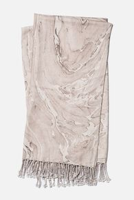 Hand Woven Contemporary Marble Throw in Beige