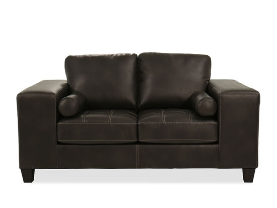"Contemporary 70"" Leather Loveseat in Charcoal Gray"