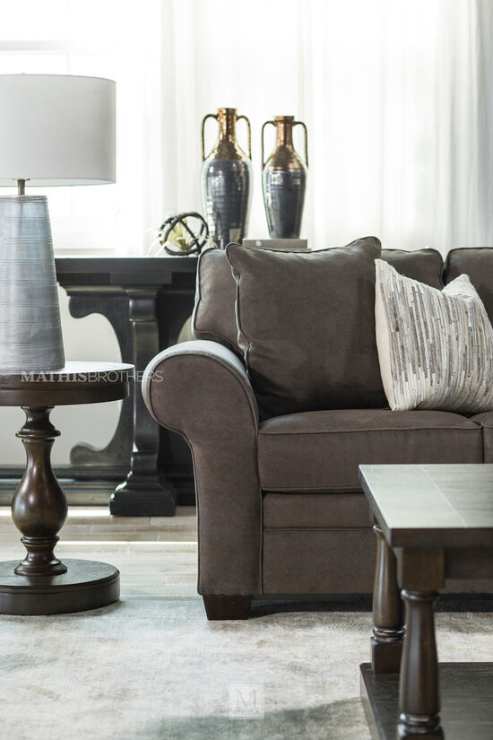 Pedestal Base Traditional Console Table in Brown