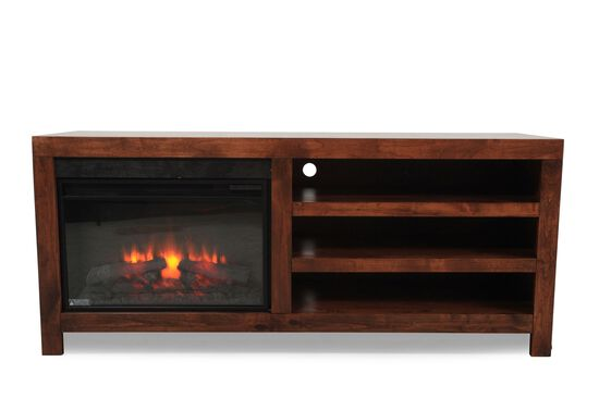 Contemporary Fireplace TV Console in Fruitwood
