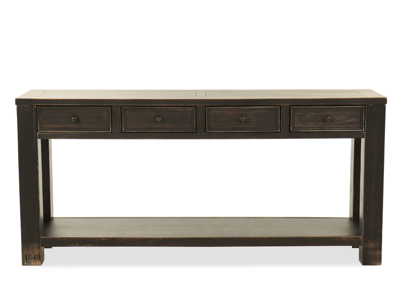 Four drawer casual sofa table in weathered brown mathis for 4 living furniture
