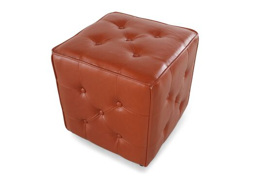 "Button-Tufted Transitional 18"" Ottoman in Orange"