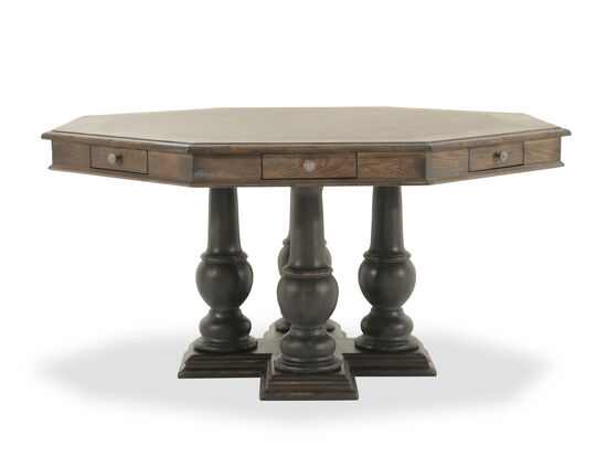 """Traditional 60"""" Eight-Drawer Pedestal Game Table in Brown"""
