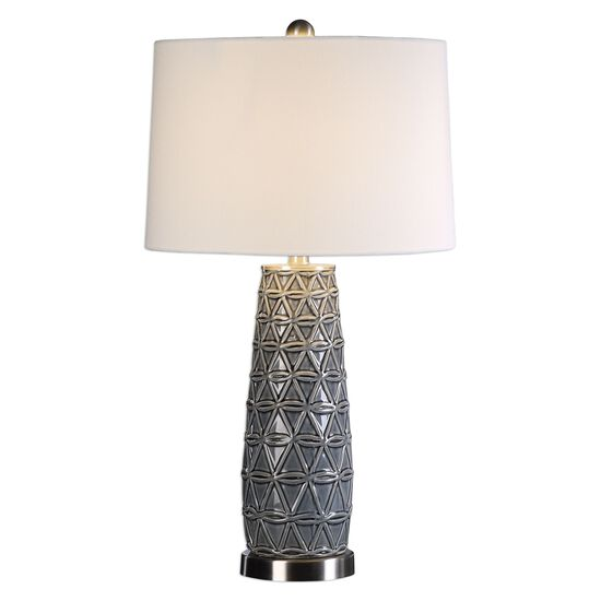 Embossed Cylindrical Ceramic Lamp in Stone Gray