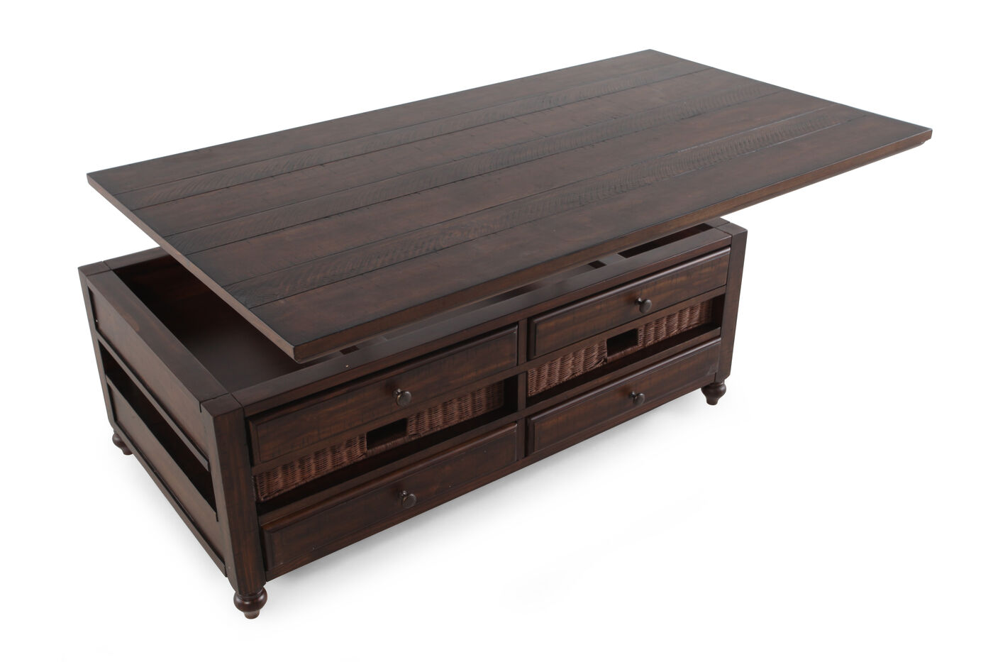 Rectangular lift top country cocktail table in dark walnut for Html table th always on top