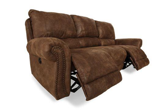 "Nailhead-Accented Microfiber 89"" Sofa in Dark Brown"