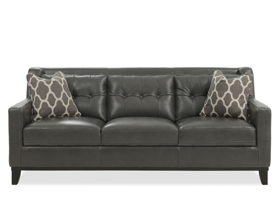 Button-Tufted Leather Sofa in Gunmetal