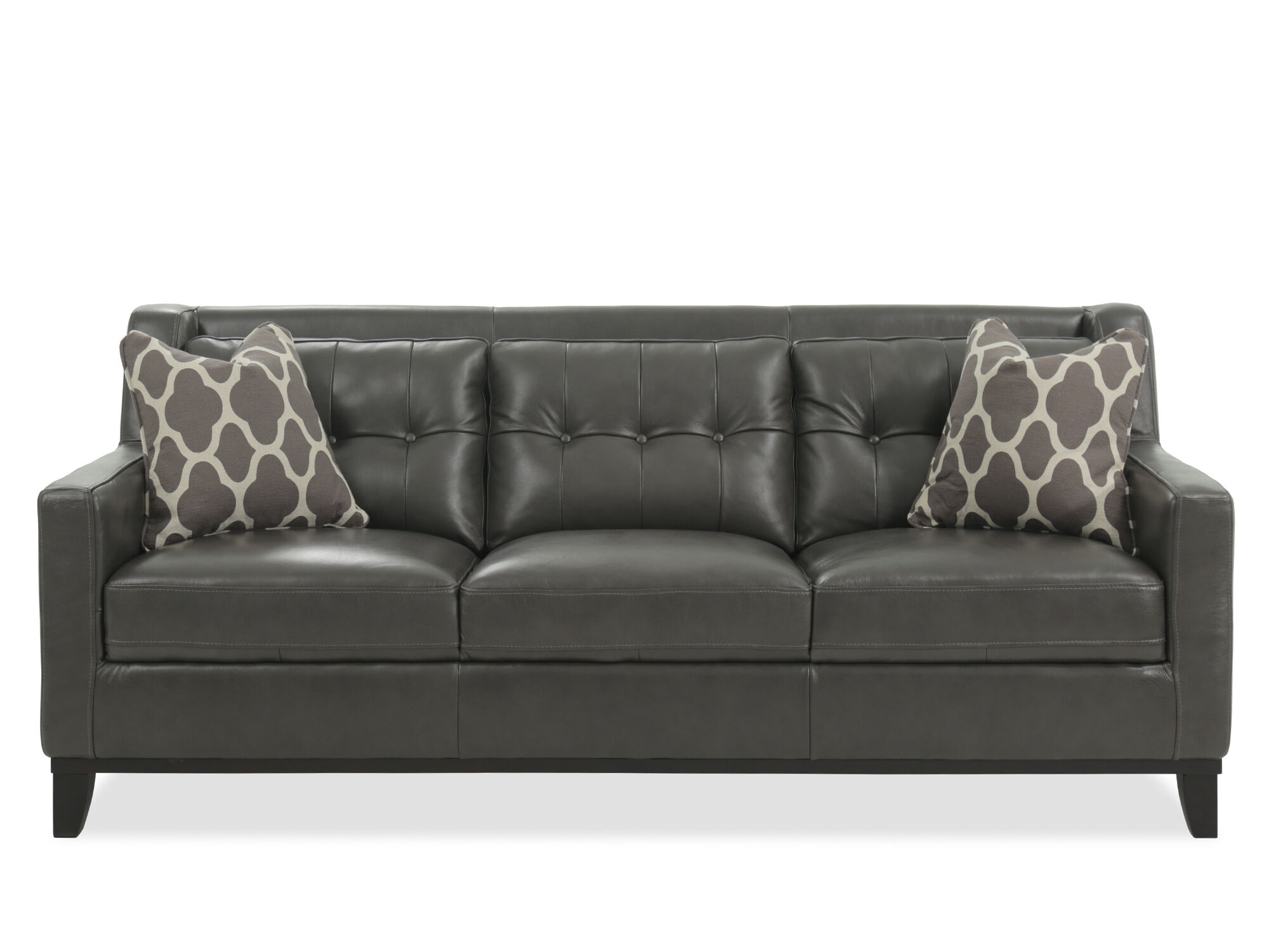 Button Tufted Leather Sofa In Gunmetal