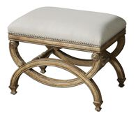 "Nailhead Trimmed 24"" Accent Bench in Beige"
