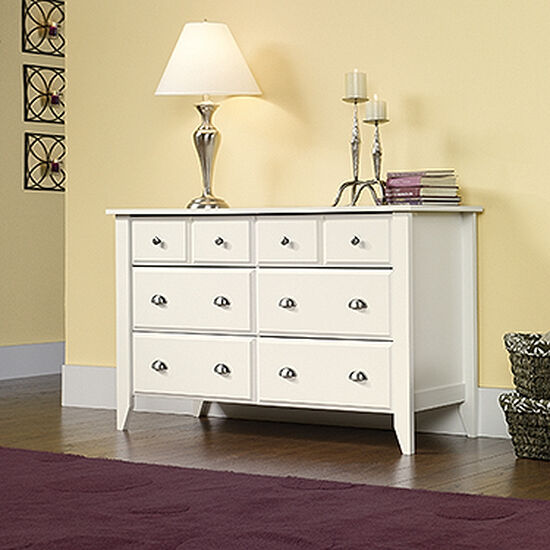 "33"" Traditional Beveled Dresser in Soft White"
