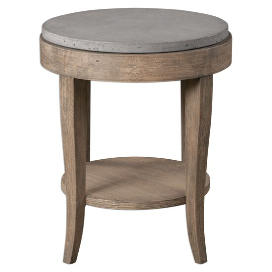 Concrete Top Round Accent Table in Brown