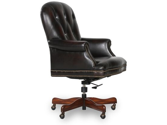 Leather Button-Tufted Executive Swivel Tilt Chairin Dark Brown