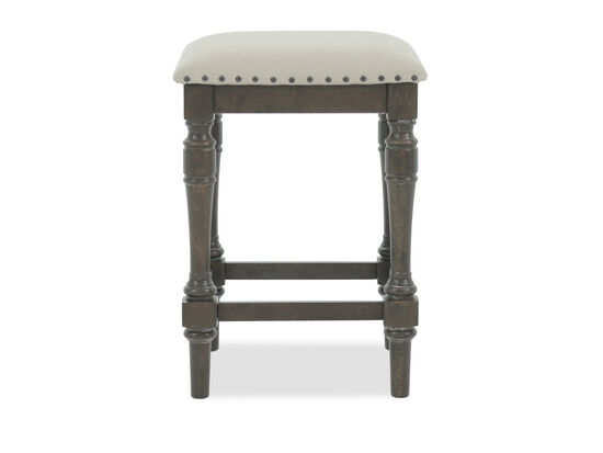 "Nailhead Accented Contemporary 24"" Backless Bar Stool in Light Brown"
