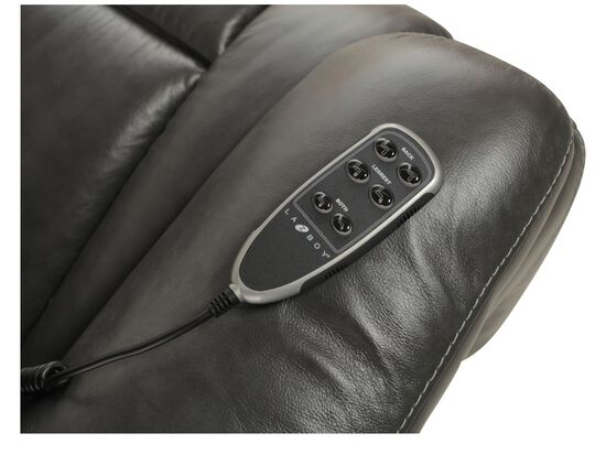 """Traditional Leather 37.5"""" Power Recliner in Gray"""