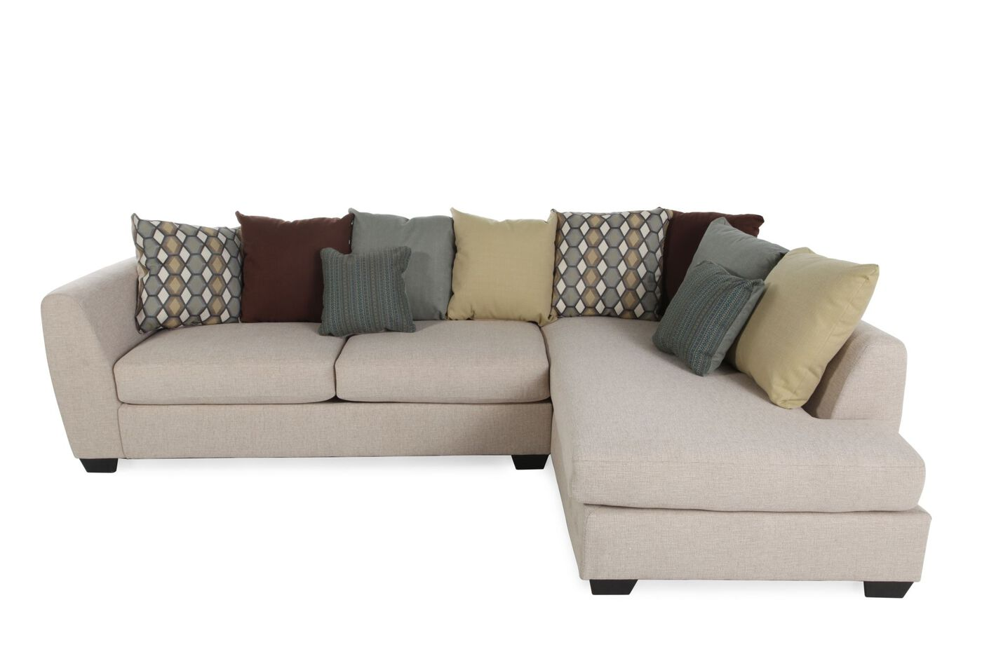 Two piece contemporary 80 sectional in sandstone mathis brothers furniture for Mathis brothers living room furniture