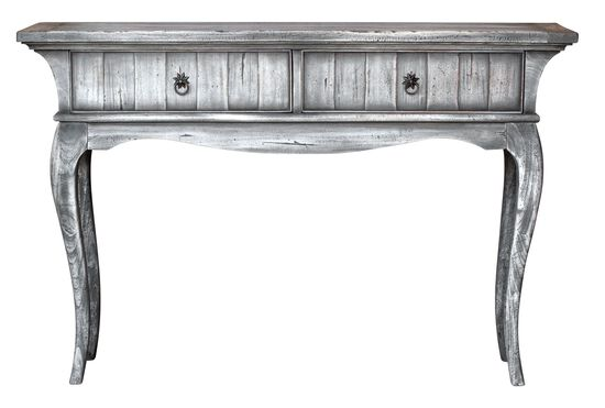 Two-Drawer Console Table in Gray Driftwood