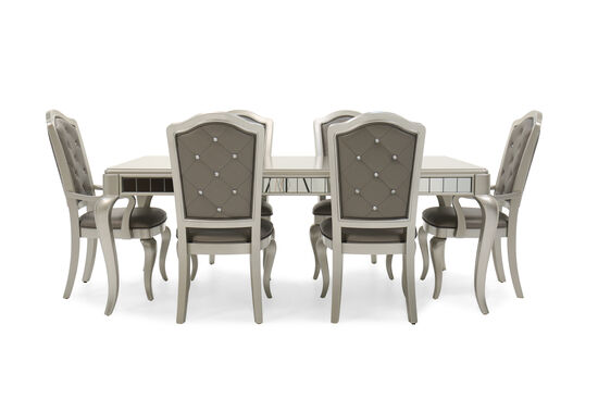 Seven-Piece Diamond Button-Tufted 63'' Dining Set in Platinum
