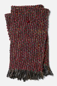 Hand Woven Contemporary Twisted Fringe Throw in Red
