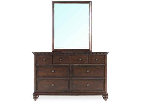 Seven-Drawer Traditional Youth Dresser and Mirror in Walnut