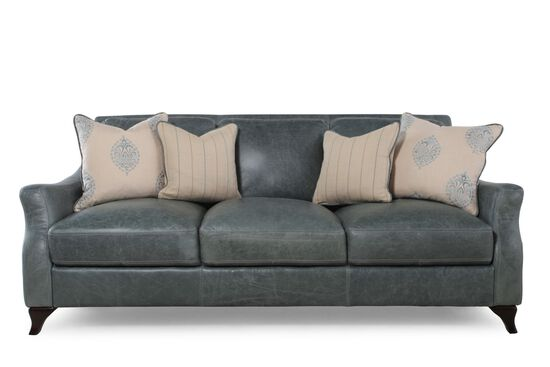 Distressed leather sofa in teal mathis brothers furniture for Mathis brothers living room furniture