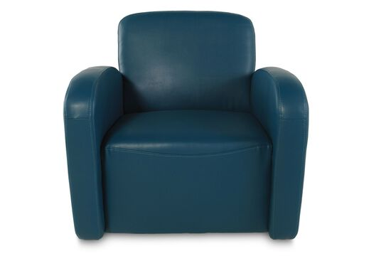 Track Arm Swivel Chair in Turquoise