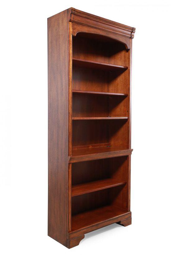 Traditional Adjustable Shelf Open Bookcase in Medium Oak
