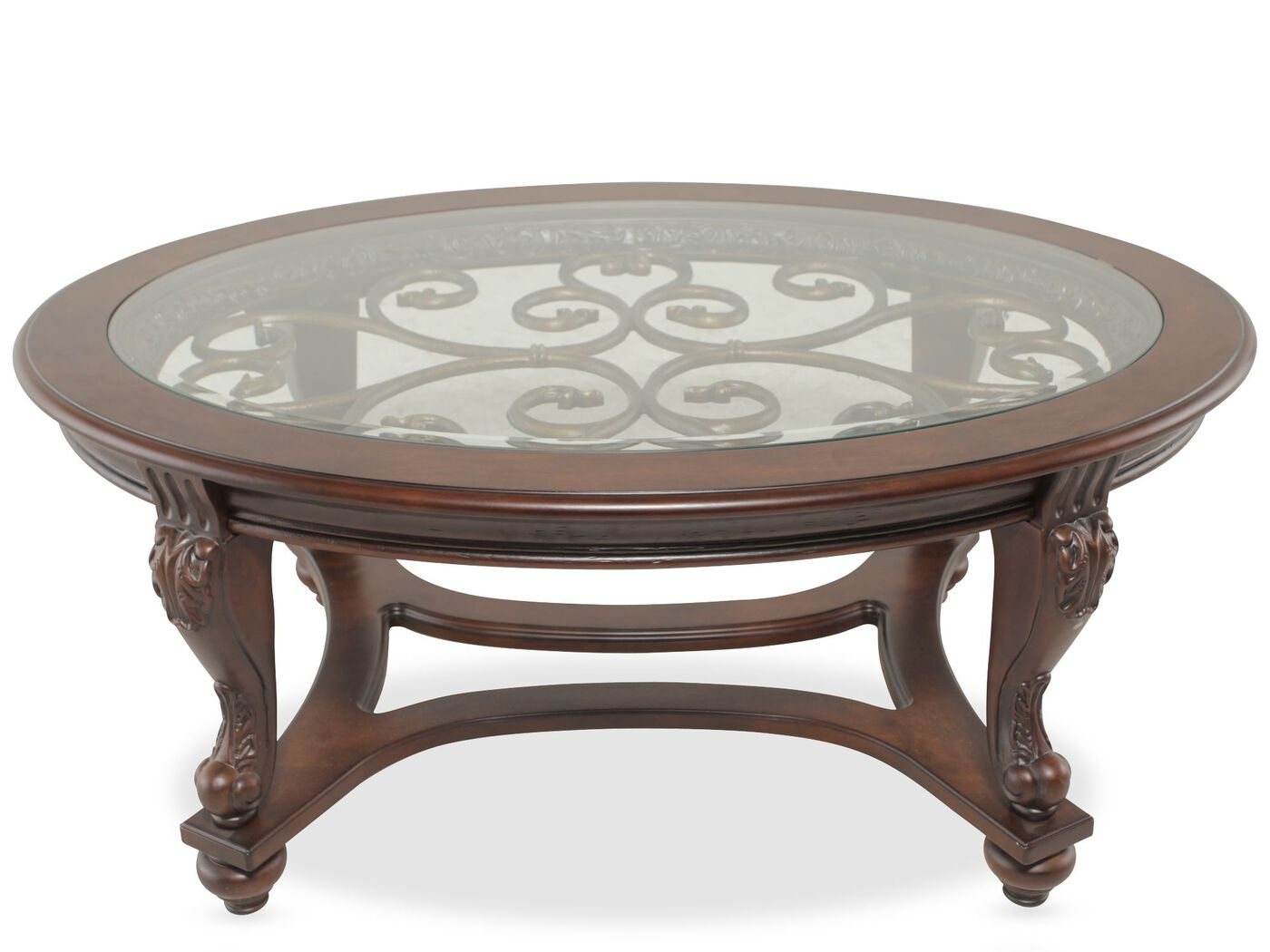 Glass Insert Oval Traditional Cocktail Table in Brown