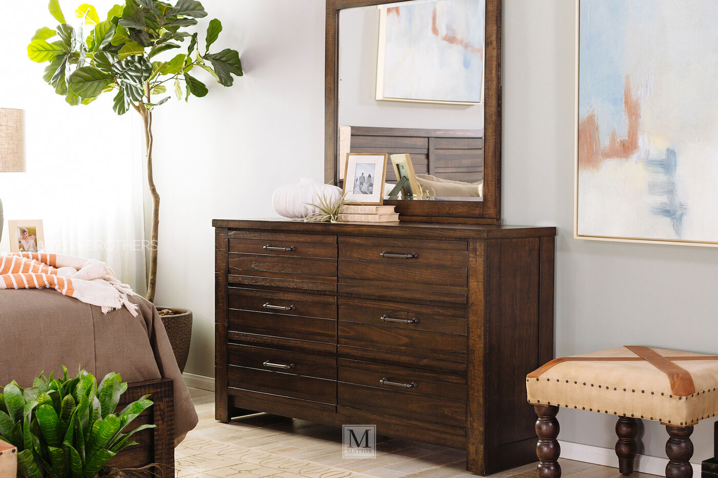 Four piece traditional bedroom set in brown tobacco for Bedroom 4 piece set
