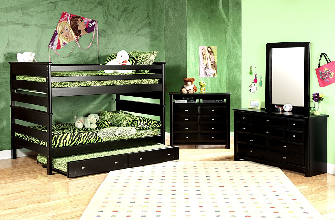 Transitional Youth Full Over Full Bunk Bed In Black Cherry