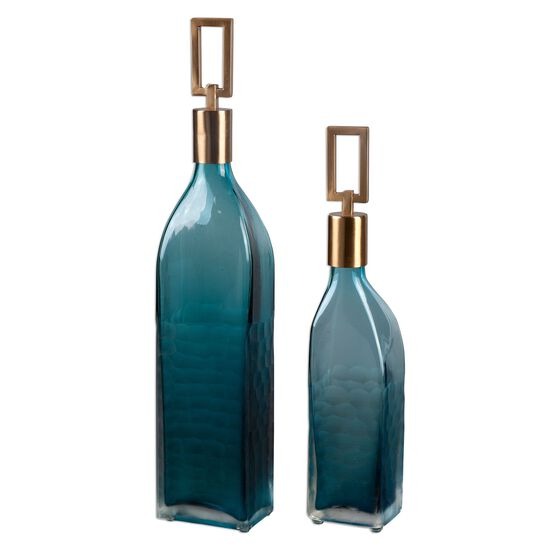 Two-Piece Textured Glass Bottles in Teal