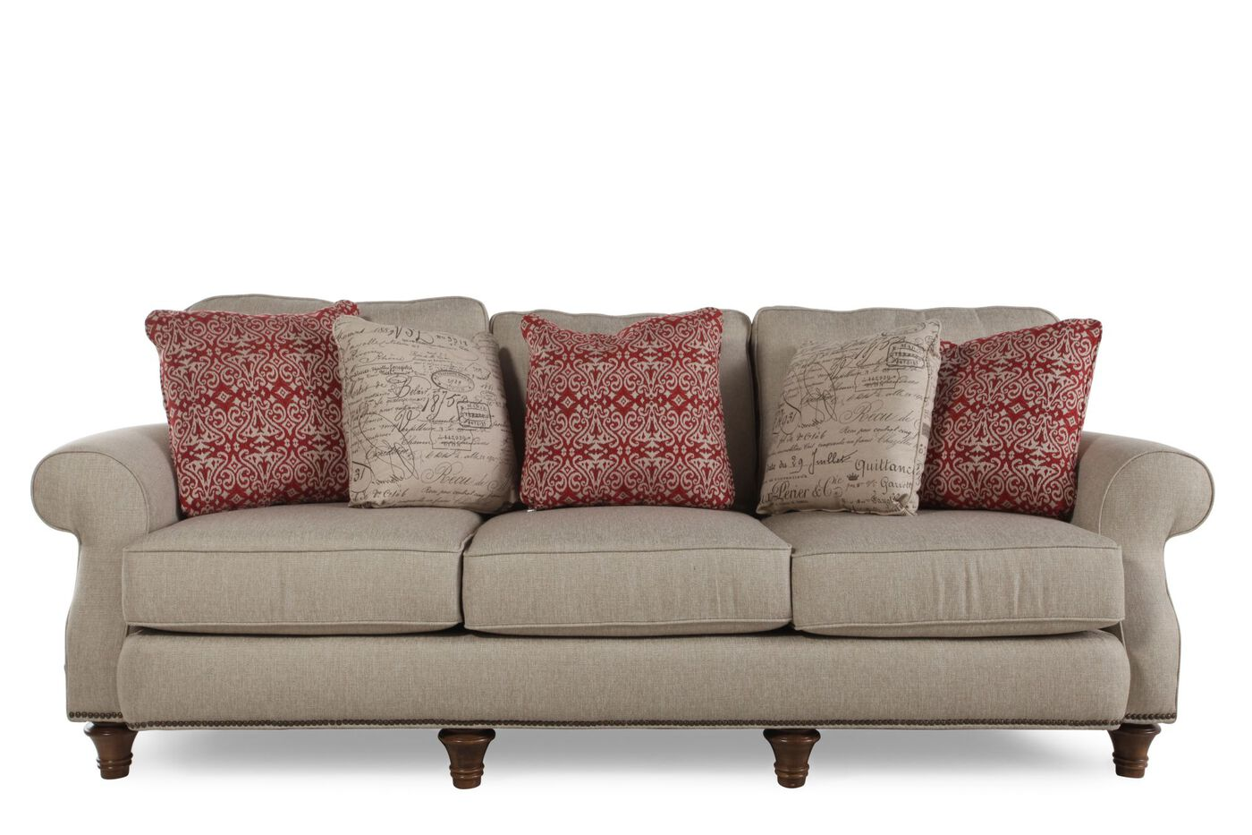 nailhead accented 98 rolled arm sofa in gray mathis brothers furniture. Black Bedroom Furniture Sets. Home Design Ideas