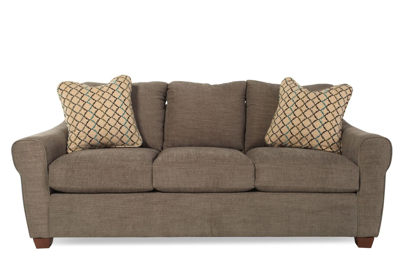 Contemporary Comfort Core Sofa In Brown Mathis Brothers