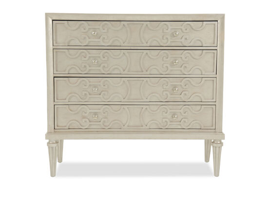 "45"" Lyre-Carved Four-Drawer Media Chest in Cream"