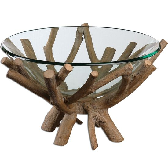 Solid Wood-Base Glass Bowl
