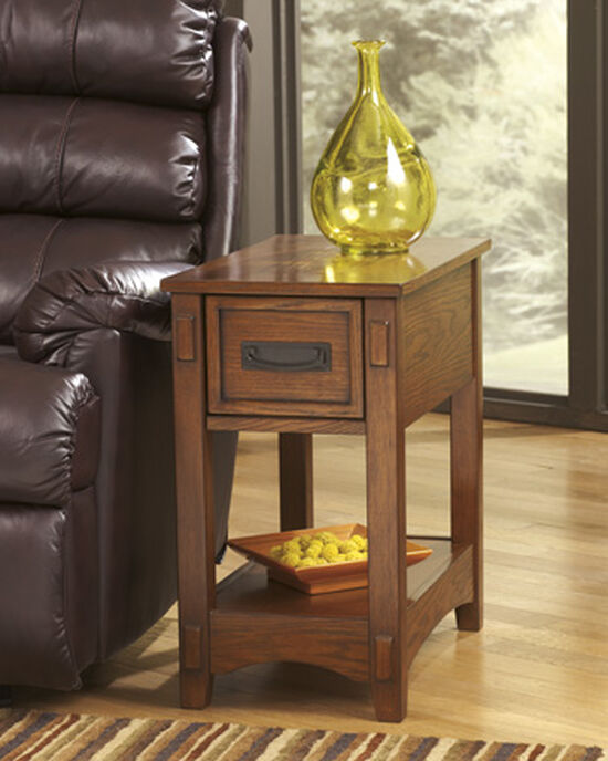 Rectangular One-Drawer End Table in Brown