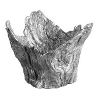 Textured Wood Bowl in Silver
