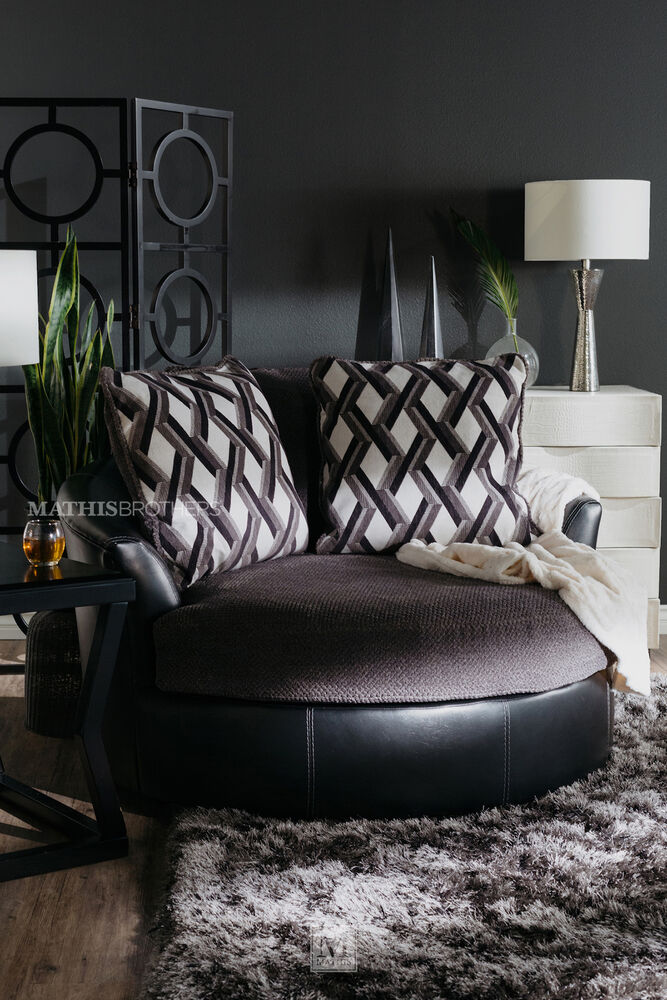 swivel accent chairs for living room. Oversized Microfiber 58 quot  Swivel Accent Chair in Smoke Gray