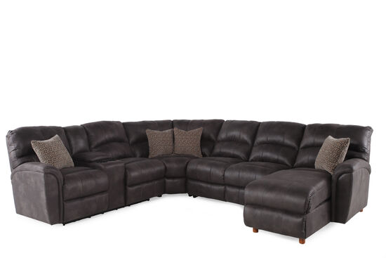 """Microfiber 118"""" Power Reclining Sectional in Gray"""
