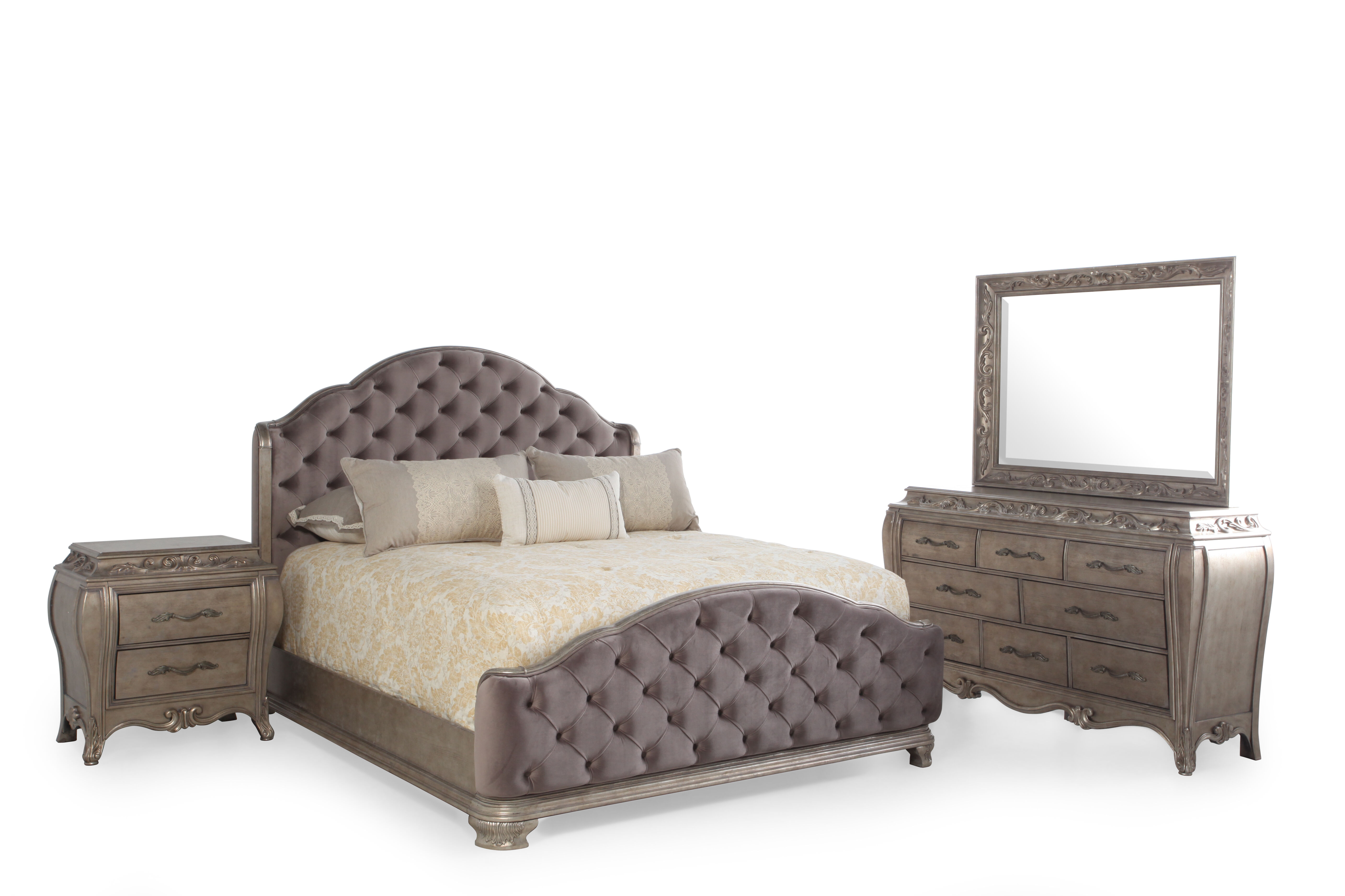 Images Four Piece Contemporary Bedroom Set In Silver Four Piece  Contemporary Bedroom Set In Silver